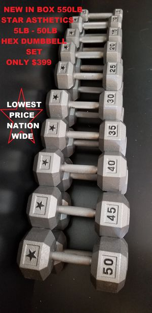 NEW DUMBBELLS 5-50LB STEEL HEX DUMBBELL WEIGHTS SET for Sale in Queens, NY