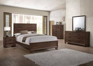 4PC QUEEN BEDROOM SET: QUEEN BED FRAME, DRESSER, MIRROR, NIGHTSTAND for Sale in Bakersfield, CA