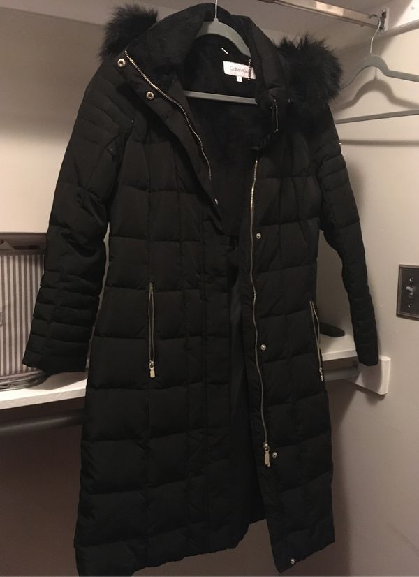 Calvin Klein long black coat size small