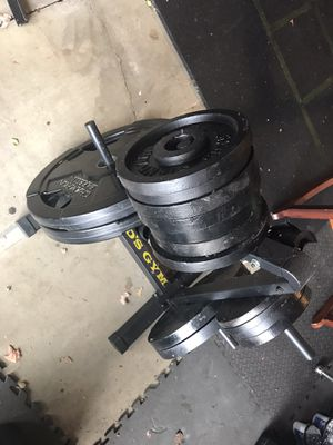 Olympic Weight Plates and Stand for Sale in Sherwood, OR