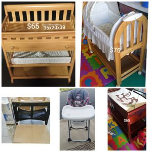 Baby Furniture- Co-Sleeper, Bassinetts, Changing Table, Highchair- Pickup is in Branford for Sale in Branford, CT