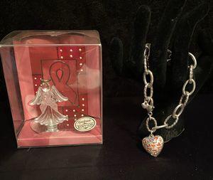 BRIGHTON .925 Silver Breast Cancer Awareness Charm Bracelet for Sale in La Porte, TX
