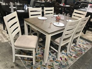 Ashley Furniture White/Light Brown 7 Piece Dining Table Set for Sale in Garden Grove, CA