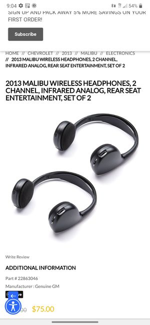 Malibu wireless remote and noise cancelling back seat entertainment headphones for Sale in Atascadero, CA