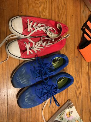 Size 11 men's converse and size 10.5 men's Nike running shoes for Sale in Bowie, MD