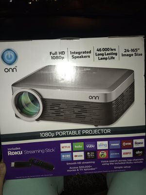 Brand New 1080P portable projector with Roku streaming stick for Sale in Las Vegas, NV