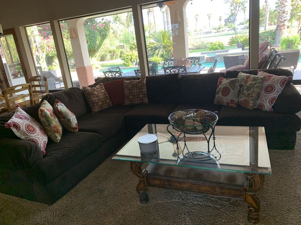 Free. Sectional Couch with a sleeper. Brown Corderoy No pillows included