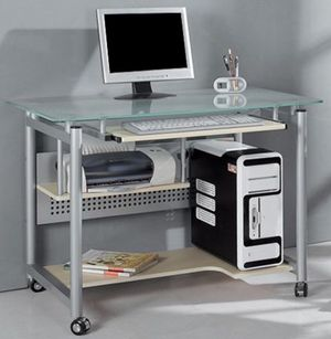New!!!, rolling computer desk, metal and glass storage computer desk for Sale in Phoenix, AZ