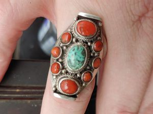 Navajo Ring Solid 925 Silver Turquoise and Coral ! for Sale in Pinellas Park, FL