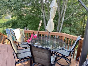 Patio furniture. Glass Top Patio Table with 4 chairs for Sale in Wheaton-Glenmont, MD