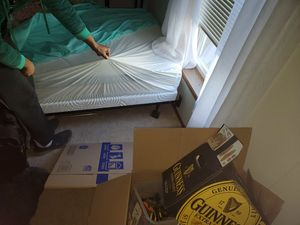 Twin bed with box board and frame used twice for Sale in Gig Harbor, WA