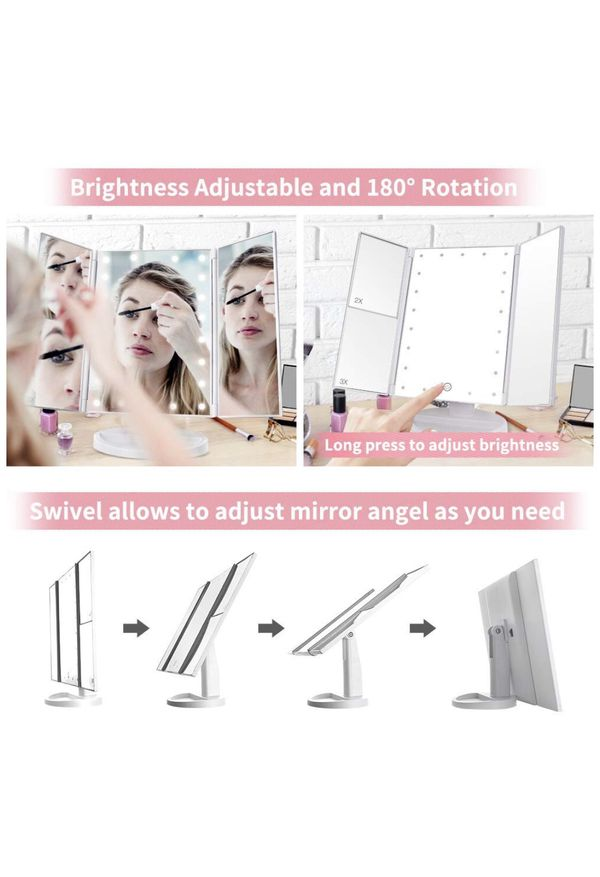 NEW!! Makeup Mirror with Lights, DIOZO Makeup 21 LED Vanity Mirror, Lighted Up Mirror with Touch Screen Switch, 180 Degree Rotation, Dual Power Suppl