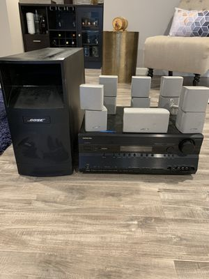 Bose 6-1 speaker system with Onkyo receiver for Sale in Upper Marlboro, MD