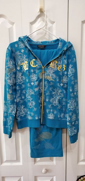 BCBG sweats lounge comfy outfit pants and zipper hoodie jacket sweatshirt great condition med large for Sale in Orlando, FL