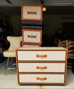 "Leather Travel Trunk Style Three Drawer Dresser, by Designer Mark David, 42""W 20""D 31""T for Sale in Las Vegas, NV"