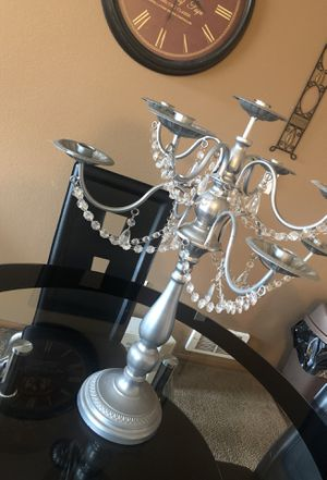 Silver plated candelabra with crystals for Sale in Seattle, WA