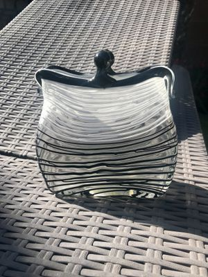 Murano Style Art Glass Handbag Art Vase Black Swirl and Clear for Sale in Lakewood, CA