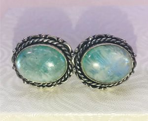 Natural bright blue rainbow 🌈 moonstones & .925 stamped sterling silver men's cuff links NEW! for Sale in Carrollton, TX