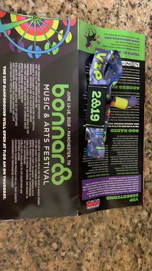 2 VIP Bonnaroo Tickets!!! Must sell-will ship for free for Sale in Harrisonburg, VA
