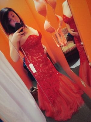 Red beaded mermaid corset prom dress for Sale in Mount Washington, KY