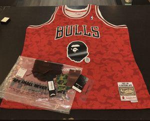 BRAND NEW MEN'S BAPE X MITCHELL&NESS NBA BULLS AUTHENTIC JERSEY SIZE XXL for Sale in Coconut Creek, FL