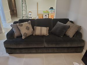 Brand new Dark grey couch with love seat and pillows for Sale in Houston, TX
