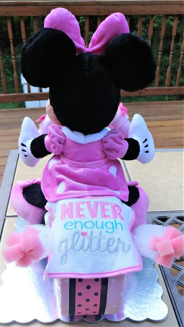 Cute Minnie Mouse Motorcycle Diaper Cake – Girls Pink and White