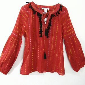 NWT Belle Vere anthropologie boho tassel long sleeve blouse Size S for Sale in Vancouver, WA