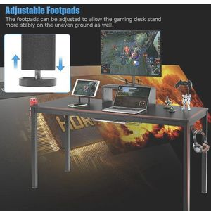 """New in the box.55"""" Large Computer Desk Gaming Desk, Ergonomic Gamer Table with Monitor Shelf Cup Holder Tablet Board Headphone Hook & Storage Basket, for Sale in Auburn, WA"""