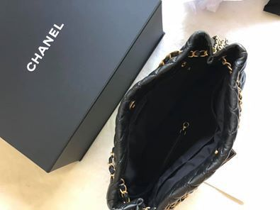 100% Authentic Chanel Large Black Bag with Gold Hardware