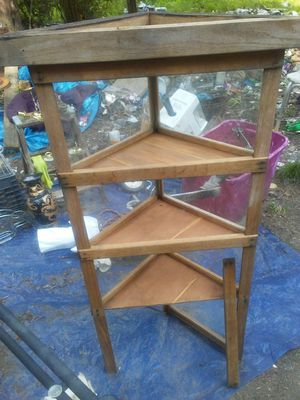 Glass and wood corner shelf for Sale in Clarksburg, WV