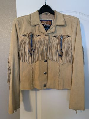 Women's leather fringe coat jacket for Sale in Glendale, AZ