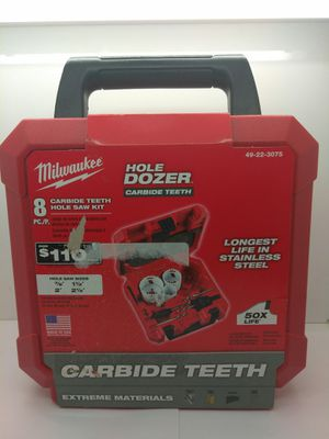 Milwaukee hole dozer carbide teeth 8-piece hole saw kit 49-22-3075 for Sale in Fort Lauderdale, FL