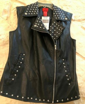 New! V Cristina Black Studded Faux Leather Vest for Sale in San Antonio, TX