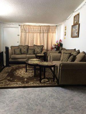 3 piece set couches/rug/3 piece set tables/4 piece set curtains for Sale in Glendale, AZ