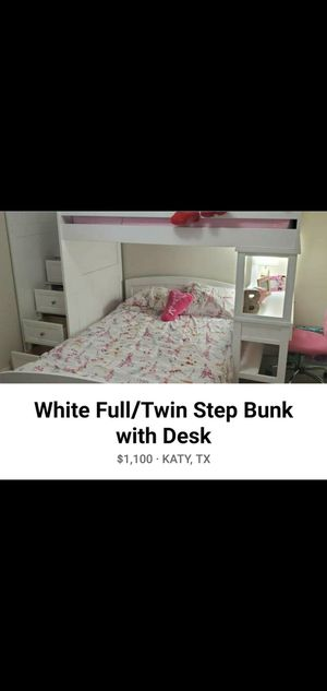 White Full/Twin Step Bunk with Desk (Include Mattress, chair, and lamp) for Sale in Katy, TX