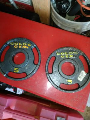 2 Golds gym 5 lb bar Bell weights for Sale in Melbourne, FL