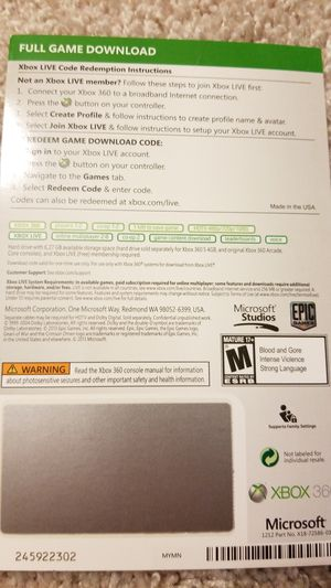 Gears of War Full Game Download Xbox 360 for Sale in Hanover, MD