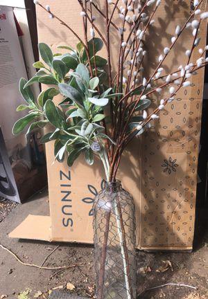Glass vase / fake plant for Sale in Denver, CO