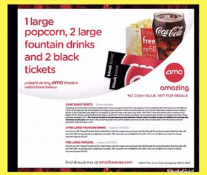 2 AMC Black Ticket. No Exp. Any movie, Anyday , 2 Lg drink, 1 Lg Popcorn exp 6/30/2020 for Sale in Long Beach, CA