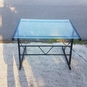 Glass metal computer desk small compact sturdy table for Sale in Saint Cloud, FL