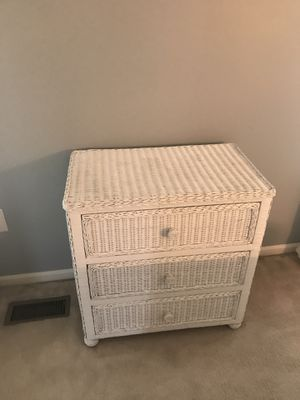 White wicker small dresser and chest! for Sale in Crofton, MD