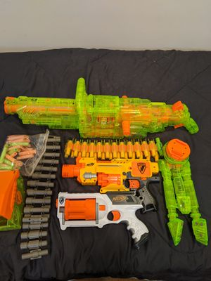 3 Nerf Guns (Green Vulcan, Barricade RV-10, & Rev-6) for Sale in Wyckoff, NJ