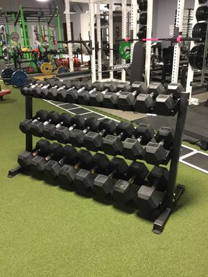 Rubber Hex Dumbbell Set with rack (5lb-75lb) (1200lb) for Sale in Houston, TX