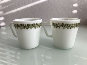 Vintage green spring blossom Pyrex coffee cups mugs for Sale in Goodyear, AZ