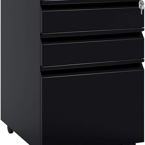 3 Drawer Mobile File Cabinet with Lock, Under Desk Metal Filing Cabinet for Legal/Letter/A4 File, Fully Assembled Except Wheels, Black for Sale in Ontario, CA