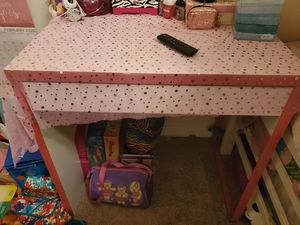 White desk with drawer. Pink trim for Sale in Winter Haven, FL