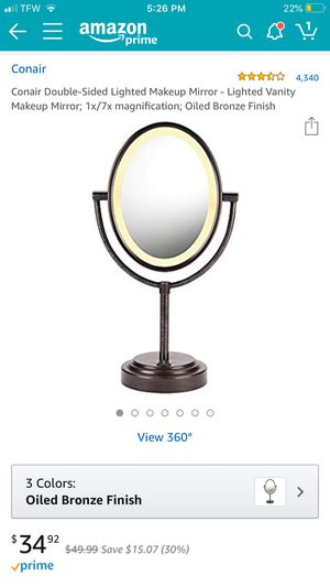 Conair Double-Sided Lighted Makeup Mirror - Lighted Vanity Makeup Mirror; 1x/7x magnification; Oiled Bronze Finish for Sale in Seattle, WA