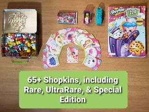 65+ Shopkins (includes Rare, UltraRare, & Special Edition), Coloring Book, & 2 packs of Collector Cards for Sale in San Diego, CA