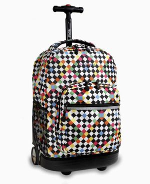 J World New York Sunrise 18-inch Rolling Backpack - Checkers$74.95 Retail for Sale in Parma, OH